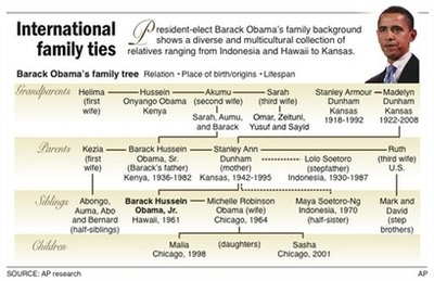 Barack Obama's International Family Ties graph. Barack Obama's family tree. Listed are family relation, place of birth,/origins, and lifespan. Barack Obama's multicultural background circles the globe. His relatives are from Hawaii, Indonesia, Kenya,  and Kansas. Barack Obama's father, Barack Hussein Obama Sr,, was born in Kenya and lived from 1936-1982. Barack Obama's mother Ann Dunham was born in Kansas and lived from 1942-1995. Source: AP Research Graph Nov 08 ©AP.