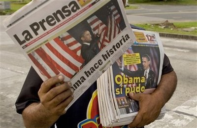 Obama on the front page of newspapers in Panama City, Panama.