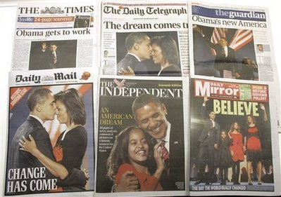 Obama dominates the front pages of the many London daily newspapers. Photo: UK newsstands November 6, 2008.