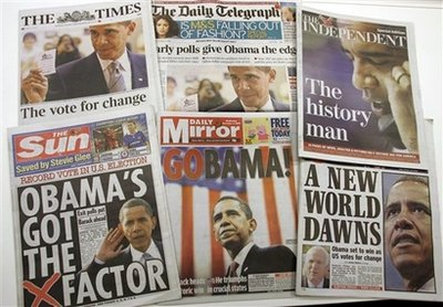 Obama grabs the London newspaper headlines the day before the US elections. Photo: UK newsstands November 5, 2008.