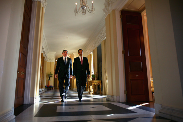 UK Prime Minister Gordon Brown and Barack Obama meet at the British Embassy in Washington on April 17, 2008.