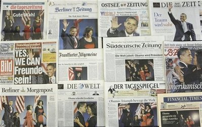 Barack Obama's historic November 4th victory dominates the newspaper headlines at this Berlin, Germany newsstand.