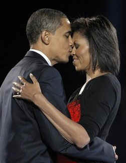 Michelle Obama celebrated her 45th birthday aboard the Obama Express train on January 17, 2009, Only 3 days from Obama's Inauguration as President. Photo: Barack kisses Michelle after his historic November 4, 2008 Presidential victory speech in Hyde Park Chicago.