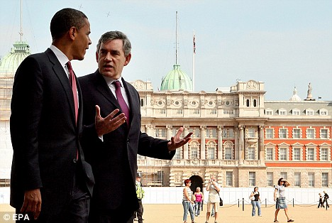 Senator Barack Obama meets UK Prime Minister Gordon Brown in London on July 26, 2008.