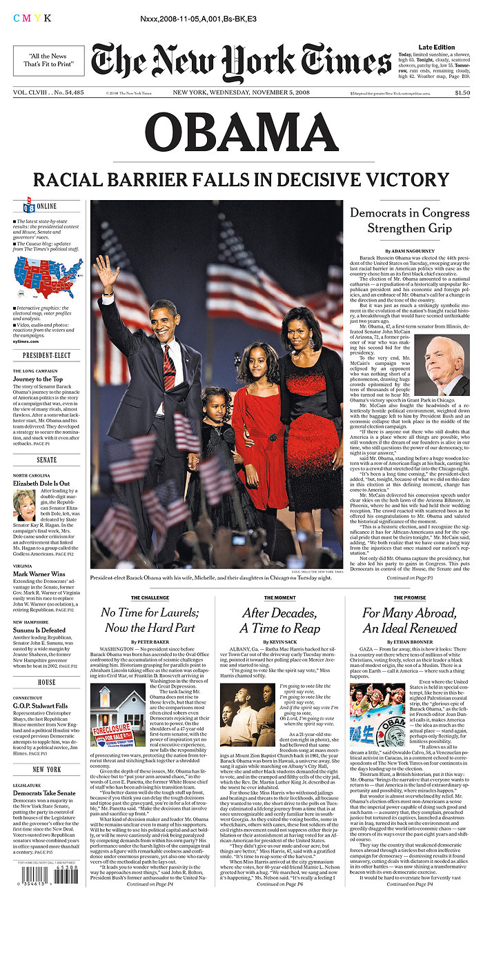 Francois Illas New Tradition: Newspaper Front Page Headlines Of Barack Obama