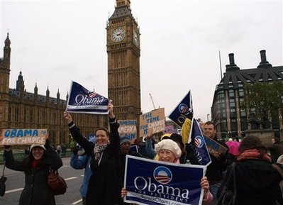 Obama supporters on Westminster Bridge with Big Ben in the background on November 1, 2008.