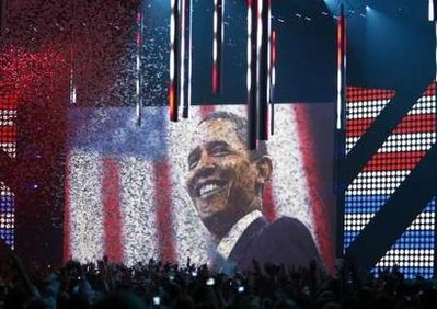 Obama on the big screen at the MTV Europe Music Awards in Liverpool UK on November 6, 2008.