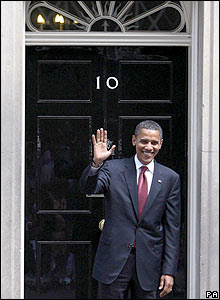 Obama waves outside 10 Downing Street. Barack Obama meets UK Prime Minister Gordon Brown in London on July 26, 2008.