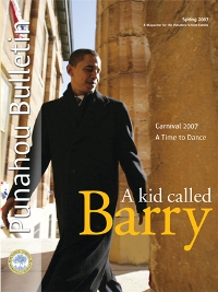 Barack Obama is known as Barry in his Punahou Honolulu school. Cover of Spring 2007 school bulletin shown.