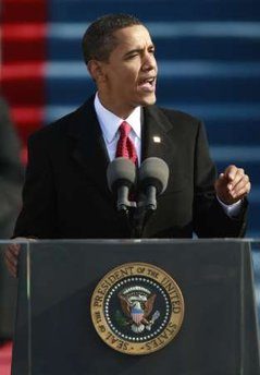 Barack Obama delivers his Inaugural address in front millions in Washington and millions more on worldwide TV.