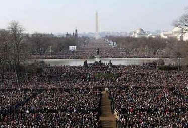 Barack Obama delivers his Inaugural Address in front of millions. Many watched from over over two miles away.
