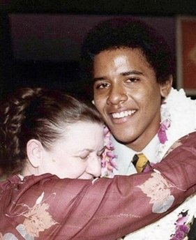 Obama's maternal grandmother Madelyn Payne Dunham hugs Barack Obama. Photo taken after Obama's Punahou High School graduation in 1979.