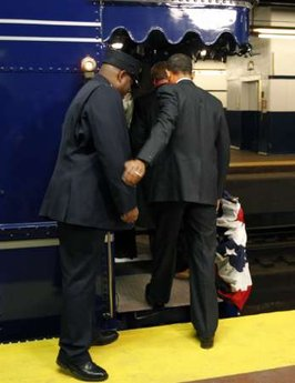 Barack Obama boards the train at the 30th Street station in Philadelphia to begin his historic train journey.Barack Obama takes the same train journey as President Abraham Lincoln from Philadelphia to Washington on a 137 mile whistle stop trip. Obama's train, known as the Obama Express, stopped in Wilmington, Delaware to pick up Joe Biden, and a stop in Baltimore where he delivered another speech. Abraham Lincoln delivered over 100 speeches on his 1861 train journey.