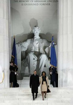 "The Official Opening Inaugural Celebration at the Lincoln Memorial on January 18, 2009. Barack and Michelle Obama and Joe and Jill Biden attend an inaugural ceremony and concert at the Lincoln Memorial. Biden and Obama delivered short speeches at the Lincoln Memorial. Obama said Lincoln  is ""the man who made this possible."""