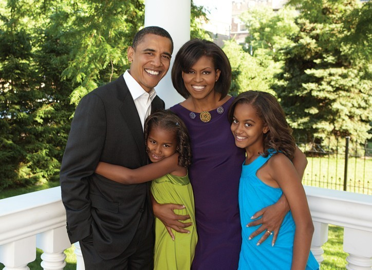 The Obama Family - Barack, Sasha, Michelle, Malia (left to right). Photo: © Essence Magazine 2008