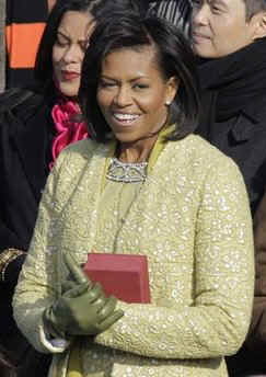 Michelle Obama arrives for ceremonies with Lincoln's 1861 bible. Barack Obama arrives for swearing-in ceremony.