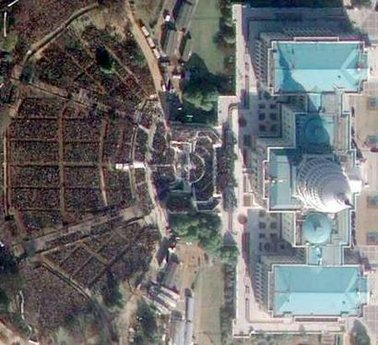 Satellite images show the huge crowds in front of the Capitol Building on January 20 2009,