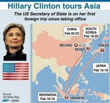 Secretary of State Hillary Clinton begins her first foreign visit as Secretary with a tour of Asia including her first stop in Japan. Clinton will also visit Indonesia, South Korea, and China in the one-week tour.