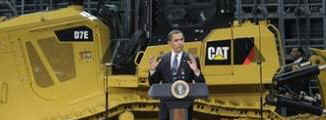 President Barack Obama meets with the CEO of Caterpillar and speaks to the employees of the Caterpillar plant in East Peoria on February 12, 2009.