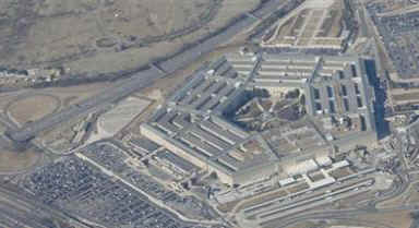 This Pentagon photo was taken from Air Force One on February 12, 2009.