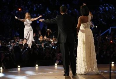 Beyonce performs for Barack and Michelle Obama at the Neighborhood Inaugural Ball.