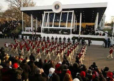 The US Military Honor Guard, in revolutionary attire, are one of many military marching bands in the Inaugural Parade.