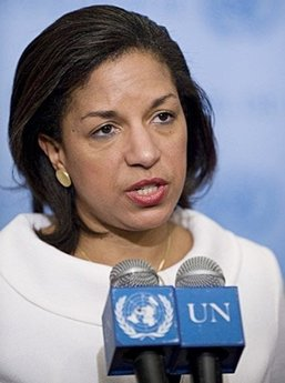"Susan Rice, the new US Ambassador to the UN, discusses Iran at UN press conference. Rice said US is open to diplomatic discussions with Iran if they ""unclenched their fists."""