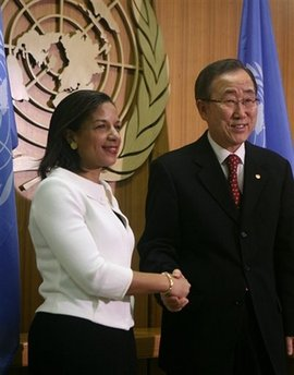"United Nations Secretary General Ban Ki-Moon meets Susan Rice Rice, the new US Ambassador to the UN, discusses Iran at UN press conference. Rice said US is open to diplomatic discussions with Iran if they ""unclenched their fists."""