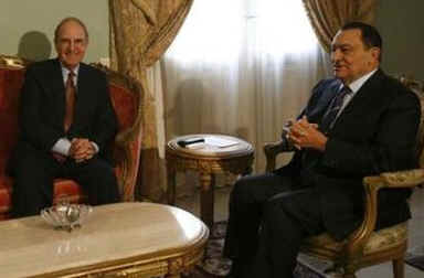 George Mitchell meets with Egyptian President Hosni Mulbarek in Cairo.
