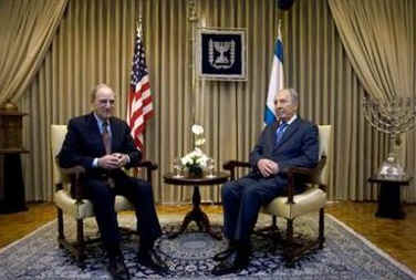 Middle East envoy George Mitchell meets in Jerusalem with Israel's President Shimon Peres.