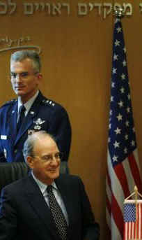 The US President's Middle East envoy George Mitchell meets with Israeli army officials in Tel Aviv on January 29, 2009.