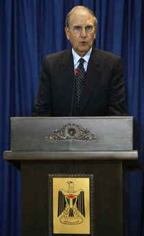 The US President's Middle East envoy George Mitchell is busy with several meetings. Photo: George Mitchell speaks at a press conference in Ramallah, West Bank on January 29, 2009.