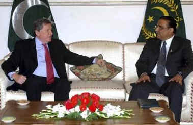 On February 12, 2009 Richard Holbrooke meets with Pakistan's President Asif Ali Zardari in Islamabad.