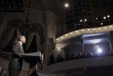President Barack Obama and First Lady Michelle Obama attend the Grand Re-Opening of Ford's Theatre in Washington on February 11, 2009. President Obama meets a Lincoln actor, receives a copy of the Gettysburg Address, and speaks just below the box where President Abraham Lincoln was shot (photo).