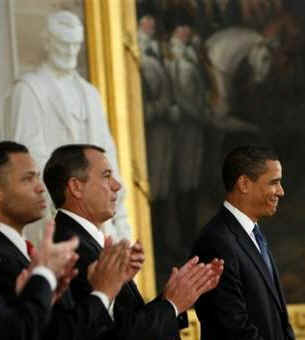 President Barack Obama is introduced  in the Rotunda of the US Capitol in Washington, DC on February 12, 2009 during the Lincoln Bicentennial Congressional Celebrations honoring the 1809 birth of President Abraham Lincoln.