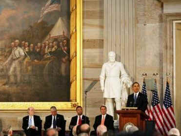 President Barack Obama speaks in the Rotunda of the US Capitol in Washington, DC on February 12, 2009 during the Lincoln Bicentennial Congressional Celebrations honoring the 1809 birth of President Abraham Lincoln.