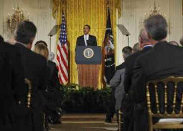 President Barack Obama speaks to the Business Council comprising of the leaders of US corporations to outline President Obama's economic plan set at $787 billion. Obama spoke in the East Room of the White House on February 13, 2009.