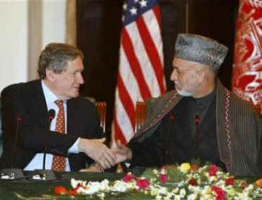 Richard Holbrooke, the US Special Envoy to India, Pakistan, and Afghanistan meets with Afghanistan's Afghan President Hamid Karzai in Kabul, Afghanistan on February 14, 2009.