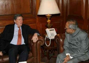 Richard Holbrooke, the US Special Envoy to India, Pakistan, and Afghanistan, meets with India's Foreign Minister in New Delhi.