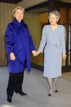 Secretary of State Clinton meets with Japan's Empress Michiko at the Imperial Palace in Tokyo.
