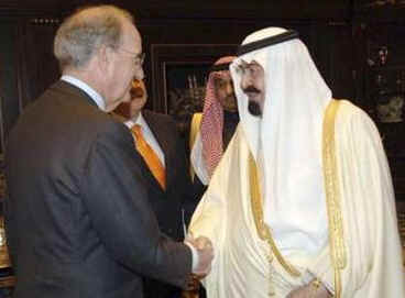 President Barack Obama's Middle East envoy George Mitchell meets with Saudi King Abdullah at the Royal Palace in Riyadh.