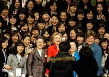 Secretary of State Clinton meets with students and answers questions at the Ewha Woman's University in Seoul, South Korea.