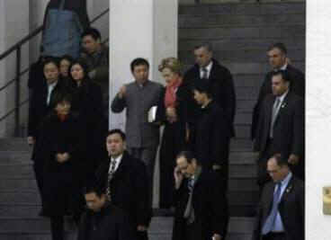 Secretary of State Hillary Clinton attends Sunday Service at the Beijing Haidian Christian Church. Beijing police had a strong presence at the Christian Church to avoid any disruption of the services on February 22, 2009.