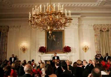 President Barack Obama and Michelle Obama host a dinner for US Governors in the State Dining Room of the White House. After the dinner and President Obama's remarks the Governors attended entertainment in the East Room of the White House.