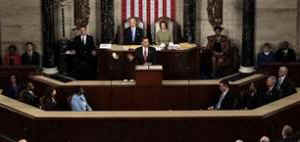 President Barack Obama addresses the Joint Session of Congress at the Capitol in Washington on February 24, 2009.