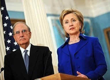 Secretary of State Clinton holds a press conference after the return of envoy George Mitchell from his Mid-east tour.