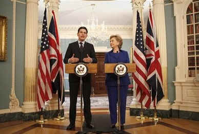 Hillary Rodham Clinton meets with David Miliband the UK Secretary of State for Foreign and Commonwealth Affairs.