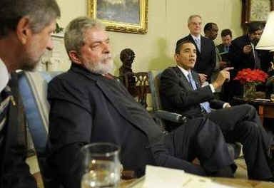 President Barack Obama meets with Brazilian President Luizinacio Lula Da Silva in the Oval Office of the White House.