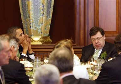 President Barack Obama has lunch at the Capitol Building with Ireland's Prime Minister Brian Cowen.