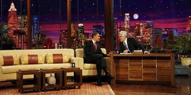 President Barack Obama is a guest on the The Tonight Show with Jay Leno in Burbank, California on March 19, 2009.